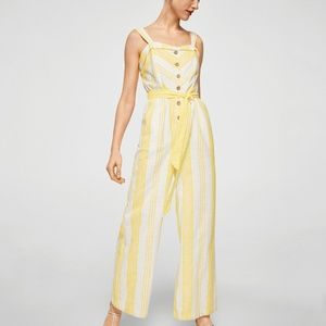 MANGO Yellow & White Stripe Button-Front Jumpsuit